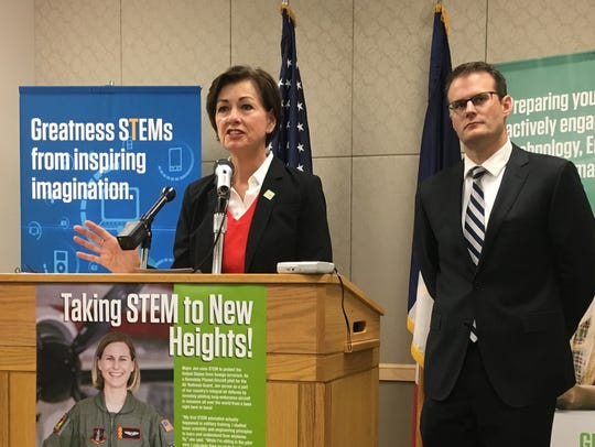 Gov. Kim Reynolds and acting Lt. Gov. Adam Gregg