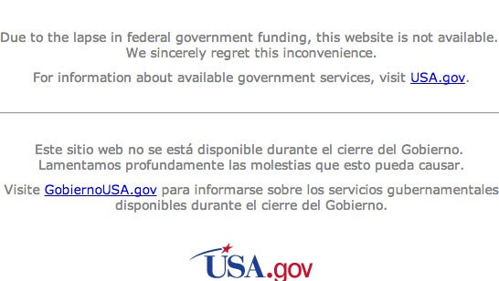The NASA website was not available this week because of the partial government shutdown.