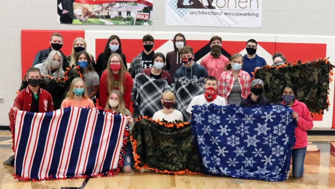 For the past two years the St. James High School Senior Beta Club students craft and donated hand-made lap blankets to be included with the St. James Caring Center Senior Homebound Food boxes.
