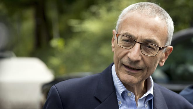 Andrew Harnik, AP  Clinton adviser John Podesta is featured in leaked emails. In this Oct. 5, 2016, photo, Hillary Clinton campaign chairman John Podesta speaks to members of the media outside Clinton's home in Washington. The WikiLeaks organization on Oct. 7, posted what it said were thousands of emails from Podesta, including some with excerpts from speeches she gave to Wall Street executives and others — speeches she has declined to release despite demands from Trump. (AP Photo/Andrew Harnik)