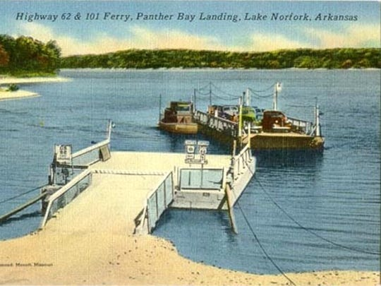 Postcard for the Norfork Lake ferry.