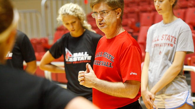 BOTTOM RIGHT: Head Coach Steve Shondell teaches some of the 80 girls at a volleyball skills camp at Ball State University's Worthen Arena and Field Sports Building on Friday. The camp goes through July 8 and has two different sections; one that hones general skills and one that is for specific positions. Head Coach Steve Shondell teaches a handful of the 80 girls at an individual skills camp at Ball State University's Worthen Arena and Field Sports Building on Friday. The camp goes through July 8 and has two different sections; one that hones general skills and one that is for specific positions.