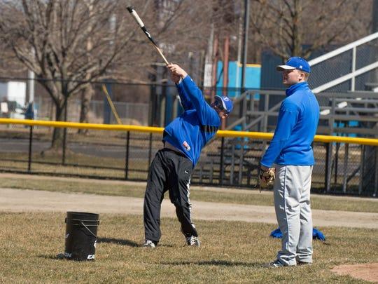 Kellogg Community College's head basebal coach Eric