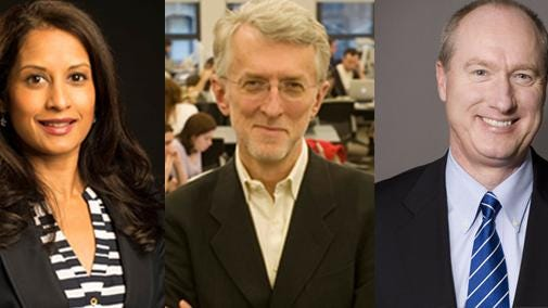 Morristown-based Geraldine R. Dodge Foundation have named three board trustees. They are, from left to right, Tanuja Dehne of Princeton, Jeff Jarvis of the Basking Ridge section of Bernards, and Finn Wentworth of Mendham.