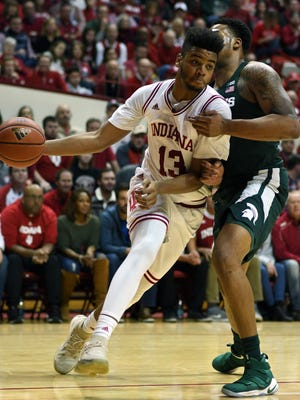 Indiana Hoosiers forward Juwan Morgan (13) drives to the basket during the game against Michigan State at Simon Skjodt Assembly Hall in Bloomington, Ind., on Saturday, Feb. 3, 2018.