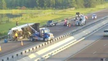 Two crashes on !-85 SB leave lanes blocked