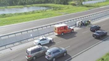 A car overturned on Interstate 95 near Mims Thursday.