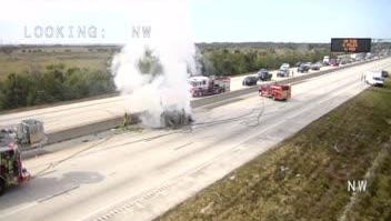 A vehicle fire shut down all lanes on a portion on I95.