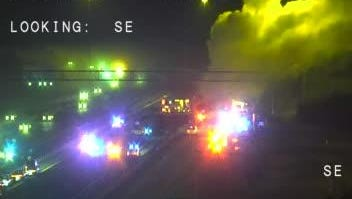 A portion of Interstate 95 was shut down early Monday after a vehicle caught fire.