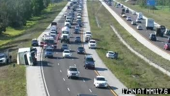 A crash causes congestion on Interstate 75 near Bonita Beach Road on Wednesday, April 4, 2018.