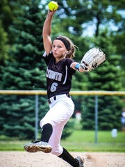 Plymouth senior Jenny Bressler throws a pitch during the June 3 Division 1 district semifinal against Salem. She not only threw a no-hitter in that game, but hit a three-run homer that broke the contest wide open.