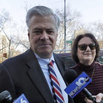 Former New York state Senate leader Dean Skelos and his wife, Gail Skelos, arrive Friday at federal court in New York.