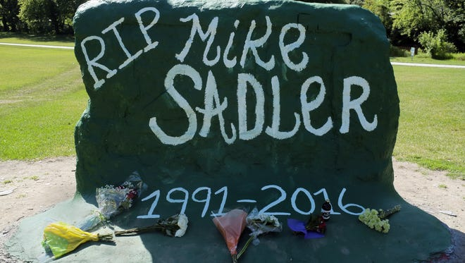 The Rock on the MSU campus is repainted as a memorial for former MSU punter Mike Sadler Monday, July 25, 2016.