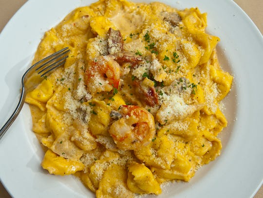 The Cajun tortellini at J. Harrod's is made with garlic,