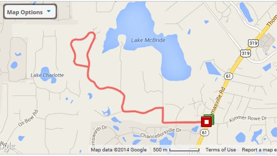 Location and route of Saturday's walk starting at 8:30 a.m.