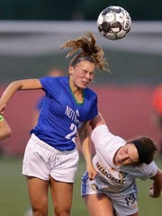 Green Bay Notre Dame High School's Izzy Kellner (22) heads the ball against Catholic Memorial High School's Shannon McWilliams (19) during their WIAA Division 3 final girls state soccer game Saturday, June 16, 2018, at Uihlein Soccer Park in Milwaukee, Wis.