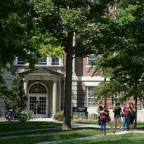 Students on the campus of Earlham College in Richmond.