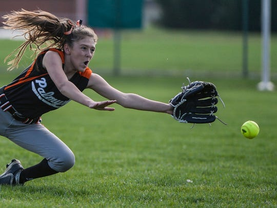 Palmyra's Payge Coburn makes a diving attempt but can't prevent a Lower Dauphin hit in Friday's 11-1 loss.