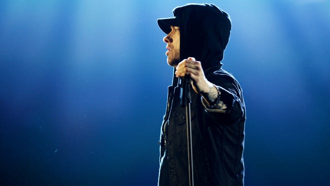 Eminem performs on stage during the MTV EMAs 2017 on Nov. 12 in London, England. (Photo by Dave J Hogan/Getty Images for MTV)