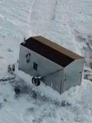 An aerial view of the shanty reported stolen to the Fond du Lac County Sheriff's Office.