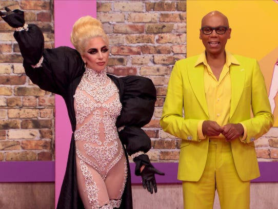 Lady Gaga (left) and RuPaul during an episode from