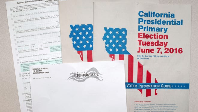 Voter information materials, photographed on Monday, May 9th, 2016.