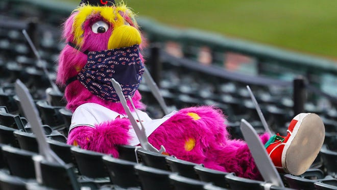 Slider watches the Indians' home opener against the Kansas City Royals from the empty stands at Progressive Field on Friday.