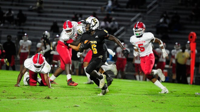 Evans takes on Harlem during football action at Evans High School in Evans, Ga., Friday evening Sept. 18, 2020