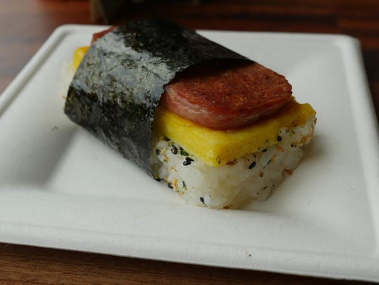 The spam musubi from Gogo's, which opened in 2016 in the former Bucharest Grill space inside Detroit's Park Bar. The bar announced that it's been sold and will be closing in December.