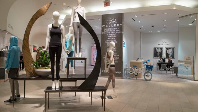 The Wellery on the second floor of the Saks Fifth Avenue flagship store in New York, which  opened a 16,000-square foot wellness sanctuary in May that offers 1,200 different fitness classes, a salt chamber and meditation classes alongside wellness merchandise.