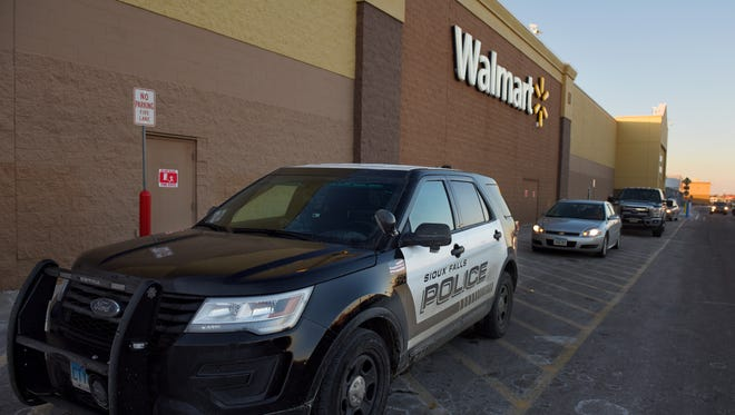 Sioux Falls Police respond to a shoplifting call at the Walmart off of Louise Ave. on Dec. 13, 2016.