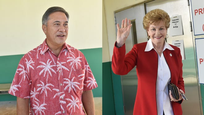 Republican Felix Camacho, left, and Democrat Madeleine Bordallo are shown in this combination of images. Democratic Guam Del. Madeleine Bordallo and Republican delegate candidate Felix Camacho easily won their respective races and will go on to the General Election.