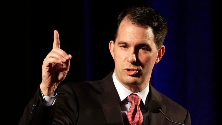 Wisconsin Gov. Scott Walker speaks during the North Carolina Republican Party convention in Raleigh, N.C., in June.