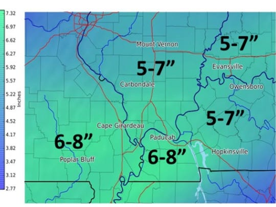 NWS forecast map of expected rainfall totals through Sunday in the Ohio Valley.