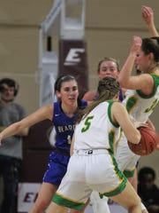 "Walton-Verona senior Brooke Perry on defense as Walton-Verona fell 44-40 to Owensboro Catholic in the girls basketball championship game of the All ""A"" Classic state tournament Jan. 27, 2019 at Eastern Kentucky University's McBrayer Arena, Richmond KY."