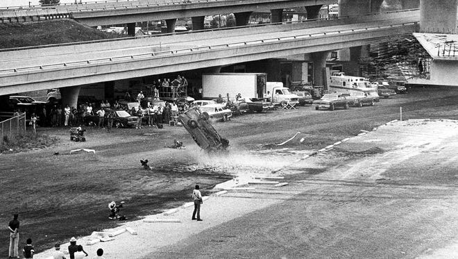 "Wreckage marks the key scene filmed in Milwaukee for the movie ""The Blues Brothers,"" shot in Milwaukee in August 1979."