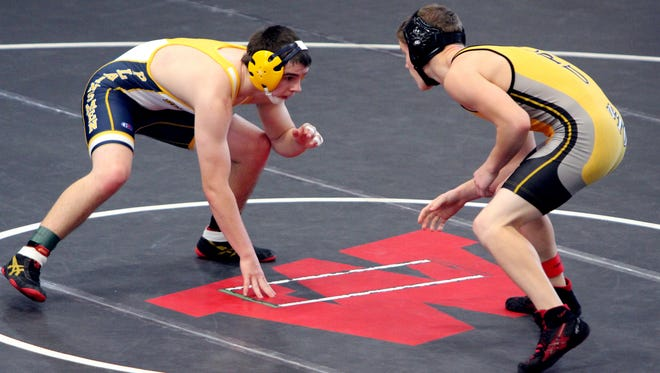 Belle Plaine's Christian Duncan is ready to wrestling at the Williamsburg Duals, held Saturday, Dec. 3.