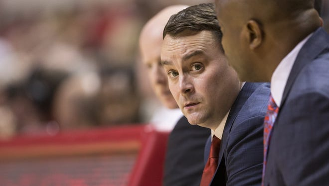 Archie Miller, head coach of Indiana men's basketball team, during action against Indiana State University, Assembly Hall, Bloomington, Friday, Nov. 10, 2017.