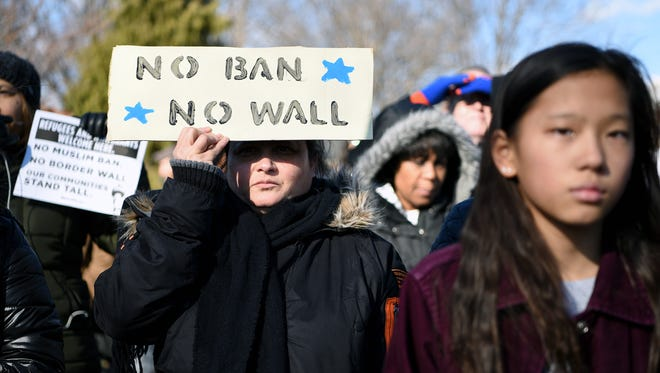 Nazima Subhani of Teaneck attends a rally in Teaneck standing together in solidarity with Muslims and immigrants of all nationalities in hercommunity against the ban on immigration signed by President Trump. Subhani immigrated to the United States from India in 1989 and became a United States citizen in 2000. The rally was held on the Municipal green in Teaneck on Sunday, January 29, 2017.