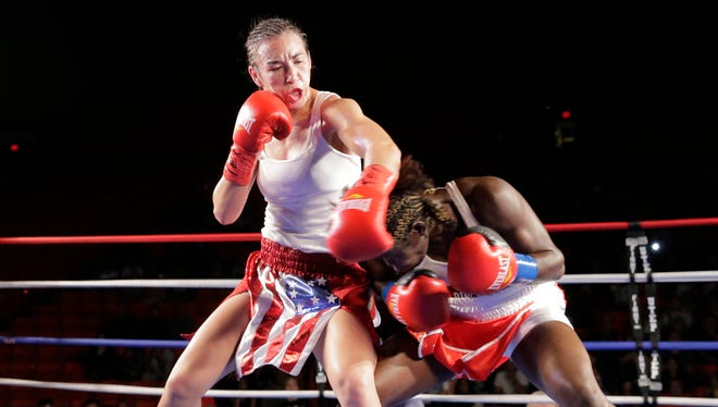 El Pasoan Jennifer Han pounds Ghana's Helen Joseph through 10 rounds of boxing and walked away at the end of the night as the new IBF featherweight world champion after a unanimous decision over Joseph on Sept. 19 in the Don Haskins Center.