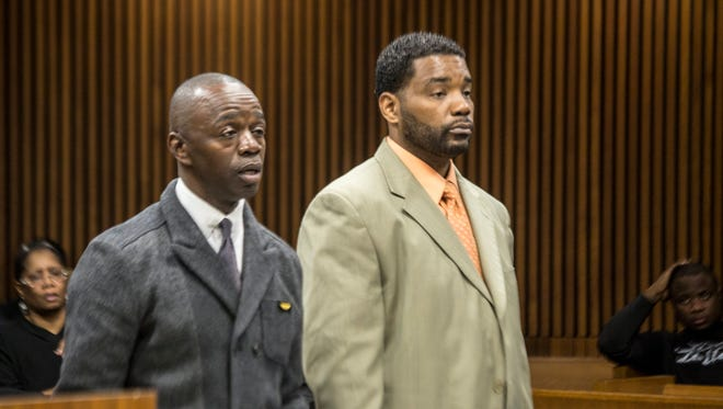 Defense Attorney Antonio Tuddles and Detroit Police Officer Deon Nunlee arrives for Nunlee's preliminary, before 36th District Judge Michael Wagner at the Frank Murphy Hall of Justice in Detroit, April 25.  Today, Nunlee was sentenced to serve 19 months to 15 years in prison by Wayne County Circuit Judge Vonda Evans.