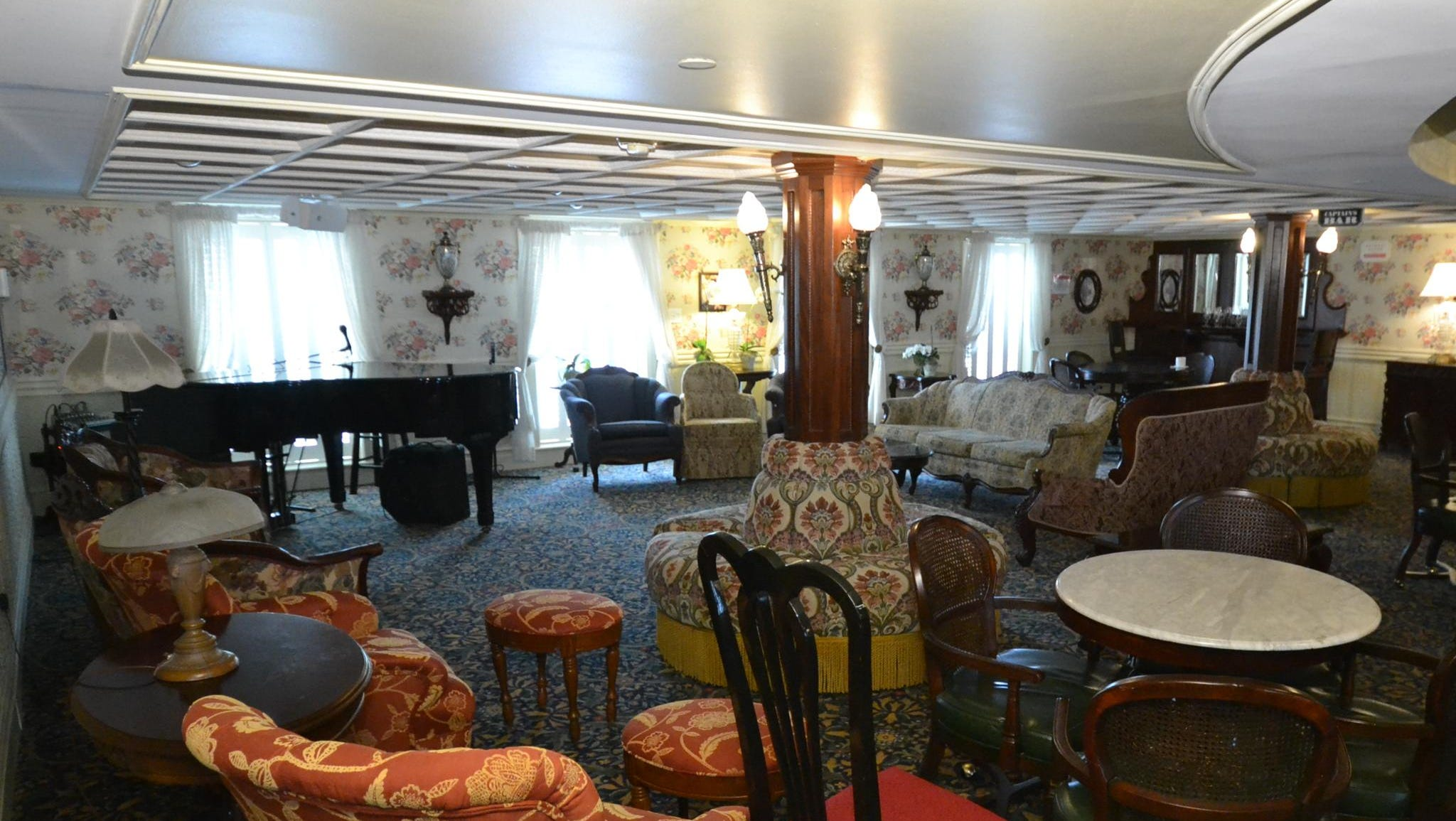 A close-up of the Lounge, which leads into the vessel's J.M. White Dining Room.