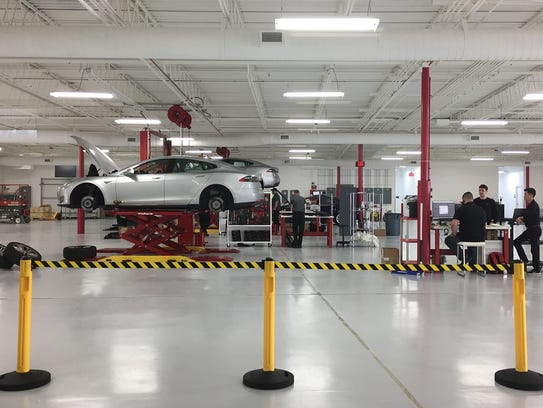 A service department at Tesla's new Cherry Hill showroom
