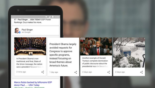 A mock-up of how campaign-produced content will appear in Google's experimental results page.