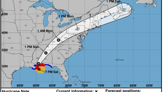 Hurricane Nate at 7 p.m. Saturday.