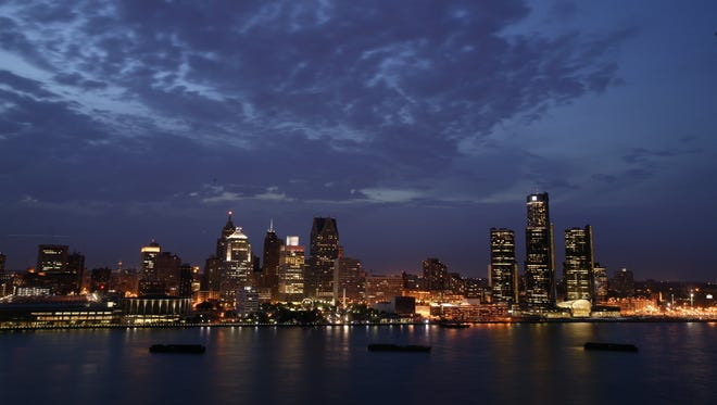 The Detroit skyline, between Windsor, Ontario, and Detroit.