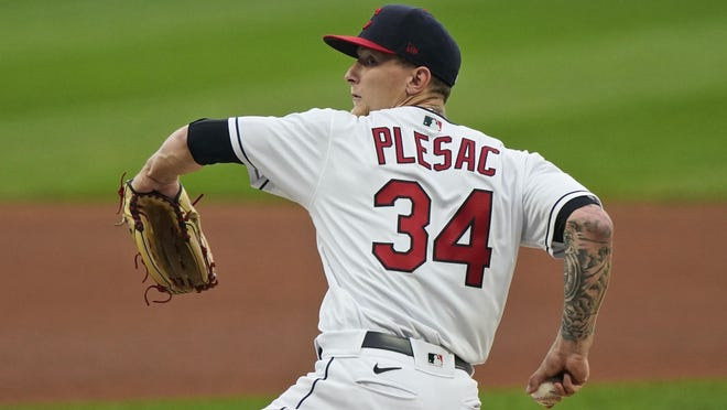 Cleveland Indians starting pitcher Zach Plesac delivers in the first inning in a baseball game against the Kansas City Royals, Monday, Sept. 7, 2020, in Cleveland.