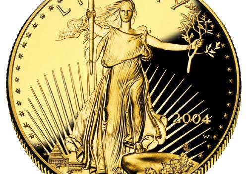"U.S. $20 Gold Coin Design, ""Standing Liberty."""