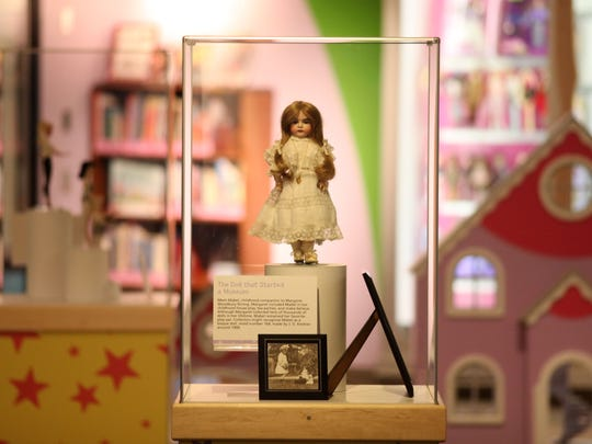 Margaret Woodbury Strong's doll, Mabel, is one of the toys on display at the The Strong Museum that she founded. The glass display cases that once made up the second floor will be replaced this fall as the museum looks to add more interactive, hands-on exhibits.
