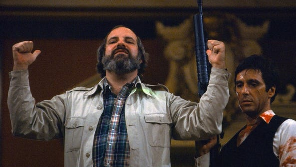 "Director Brian De Palma on the set of ""Scarface"" with"